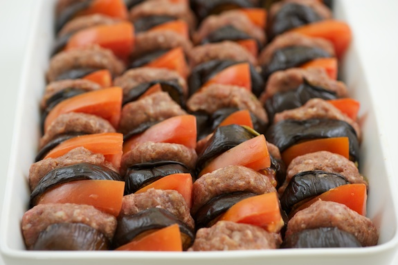 alternate: eggplant, meat, tomato