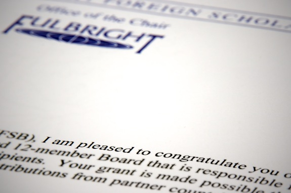 Fulbright Letter of Acceptance