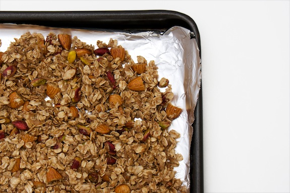 granola goes into oven