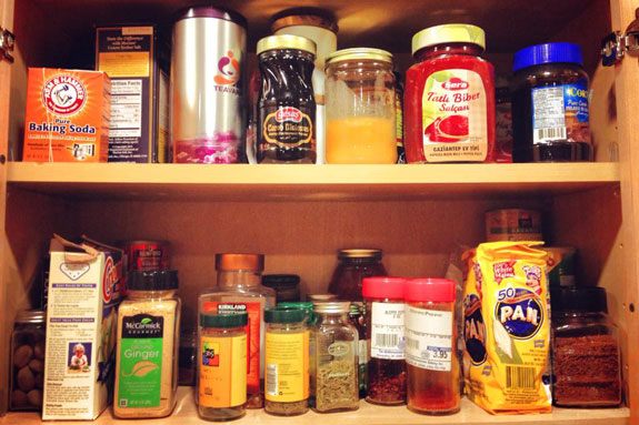 spice cabinet disarray