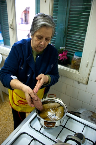 cooking mortadella