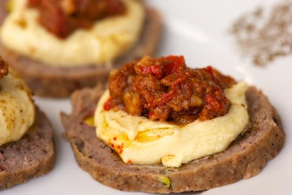mortadella, hummus, muhammara snack