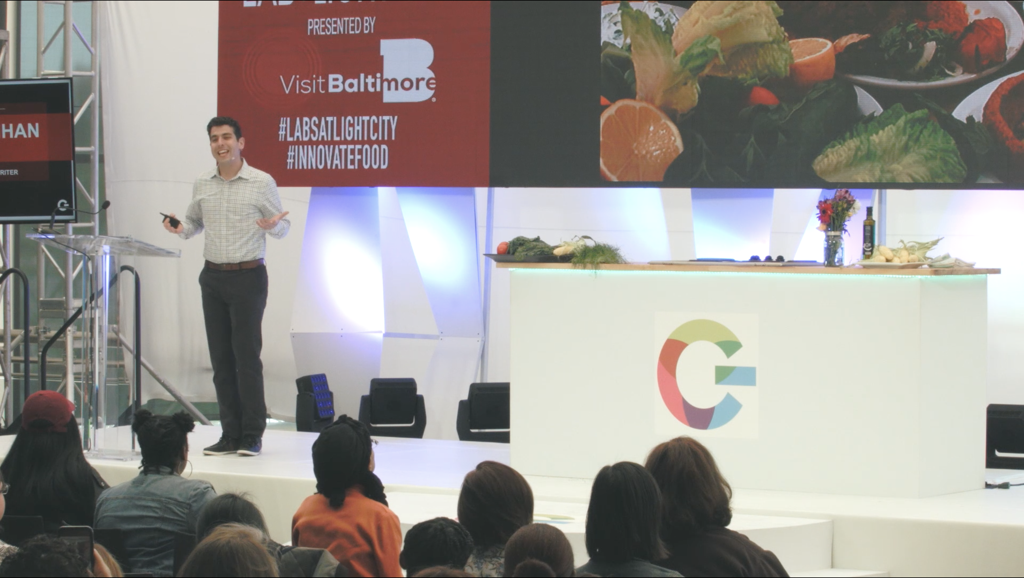 On stage at Light City: FoodLab